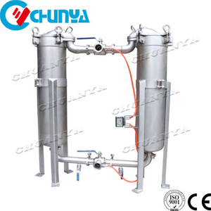 Stainless Steel Water Filtration Duplex Parallel Bag Cartridge Filter Housing Machine